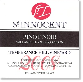 St. Innocent Pinot Noir Temperance Hill, 2008